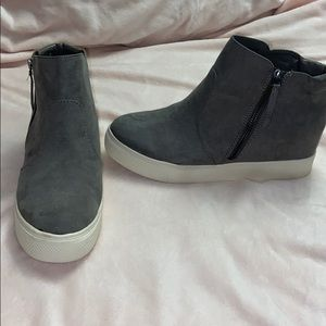 Grey wedge sneakers size 9.5